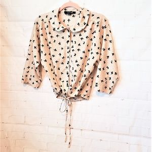 FOREVER 21 BOW BLOUSE SIZE S/P